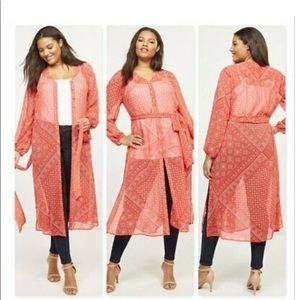 Lane Bryant Scarf Print Maxi Over Piece Kimono